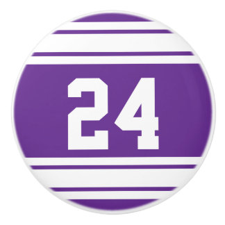 Sport Stripes Purple and White with Number Ceramic Knob