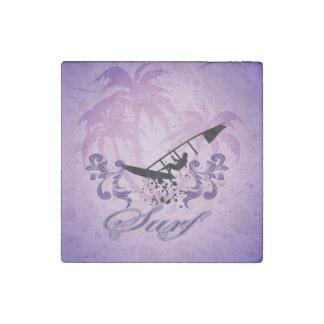 Sport, Surfboarder on violet background Stone Magnet