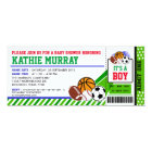 Sport Ticket Pass Baby Shower Invitation