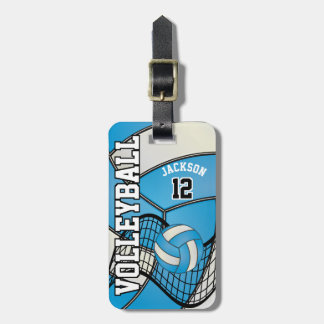 Sport Volleyball | DIY Text - Baby Blue Luggage Tag