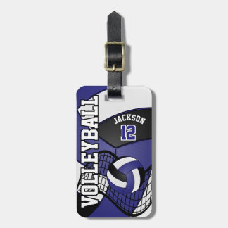 Sport Volleyball | DIY Text - Blue, White, Black Luggage Tag