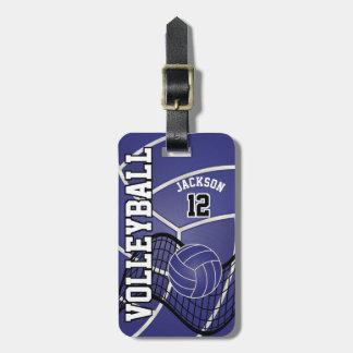 Sport Volleyball   DIY Text - Dark Blue Bag Tag