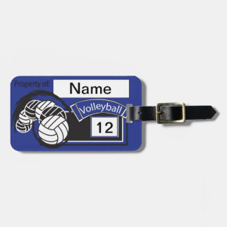 Sport Volleyball | DIY Text | Dark Blue Luggage Tag