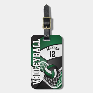 Sport Volleyball | DIY Text - Dark Green Luggage Tag