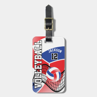 Sport Volleyball   DIY Text - Red, White and Blue Luggage Tag