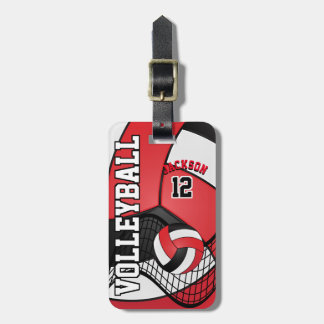Sport Volleyball   Red, White and Black Bag Tag