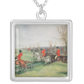 Sporting Scene, 19th century Silver Plated Necklace
