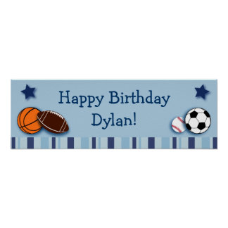 Sports All Star Personalised Birthday Banner Poster