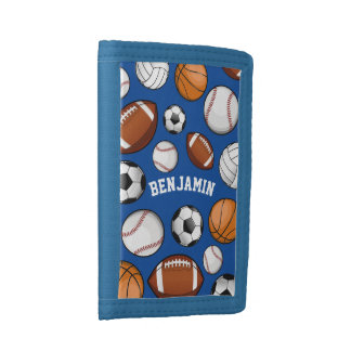 Sports All STAR Personalized Name Blue Tri-fold Wallet