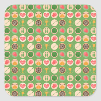 Sports and Games Pattern Square Sticker