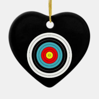 Sports Archery Target on Black Heart Ceramic Heart Decoration