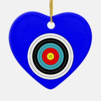Sports Archery Target on Blue Heart Ceramic Heart Decoration