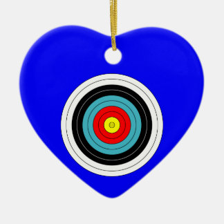 Sports Archery Target on Blue Heart Ceramic Heart Decoration