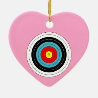 Sports Archery Target on Carnation Pink Heart Ceramic Heart Decoration
