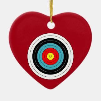Sports Archery Target on Dark Red Heart Ceramic Heart Decoration