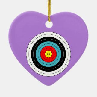 Sports Archery Target on Lavender Purple Heart Ceramic Heart Decoration