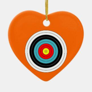 Sports Archery Target on Orange Heart Ceramic Heart Decoration