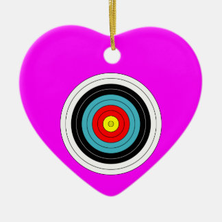 Sports Archery Target on Pink Heart Ceramic Heart Decoration