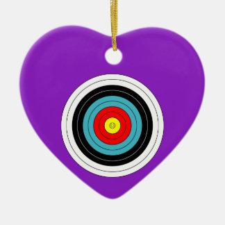 Sports Archery Target on Purple Heart Ceramic Heart Decoration
