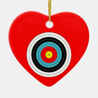 Sports Archery Target on Red Heart Ceramic Heart Decoration