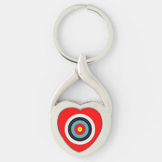 Sports Archery Target on Red Heart Key Ring