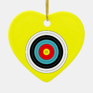 Sports Archery Target on Yellow Heart Ceramic Heart Decoration