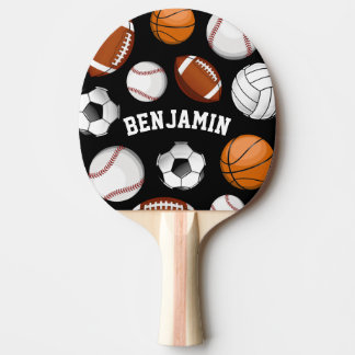Sports Assortment Personalized Name Black Ping Pong Paddle
