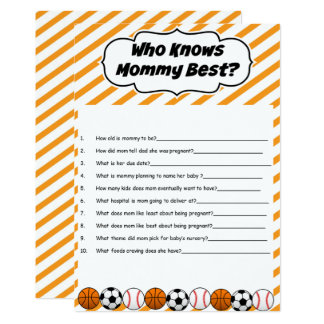 Sports Baby Shower Who Knows Mommy Best Game Card