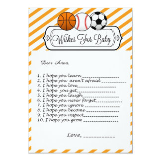 Sports Baby Shower Wishes for Baby Card