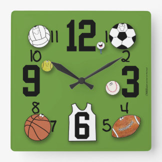 Sports Ball Characters-Sports Equipment Wallclock