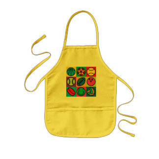 Sports Ball Checkerboard Kids Apron