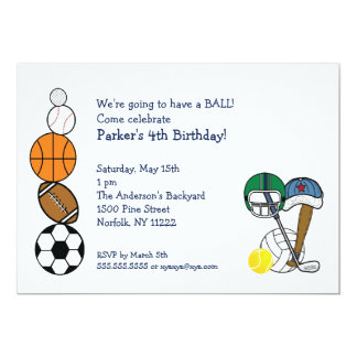 Sports Balls Birthday Party Invite for kids