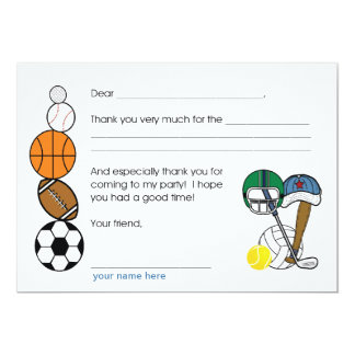 Sports Balls Birthday Party Thank you note 13 Cm X 18 Cm Invitation Card