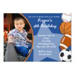 Sports Baseball Basketball Birthday Invitations