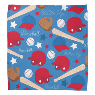 SPORTS Baseball Glove Bat Fun Colorful Pattern Bandana