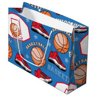 SPORTS Basketball Fun Athlete Colorful Pattern Large Gift Bag