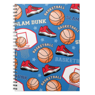 SPORTS Basketball Fun Athlete Colorful Pattern Spiral Note Book