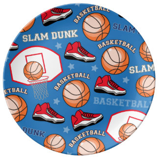 SPORTS Basketball Fun Athlete Colorful Pattern Porcelain Plate