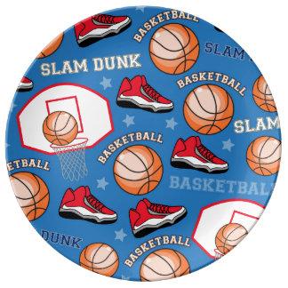 SPORTS Basketball Fun Athlete Colorful Pattern Porcelain Plates