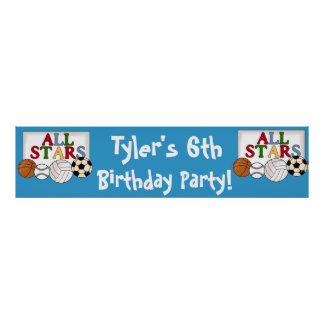 Sports Birthday Party Banner Posters