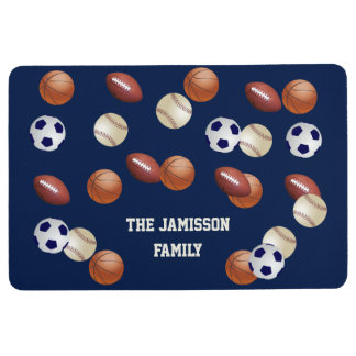 Sports Blue or Choose Your Color Floor Mat w/ NAME