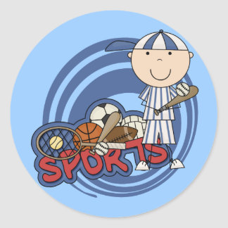 Sports Boy - Baseball Tshirts and Gifts Round Stickers