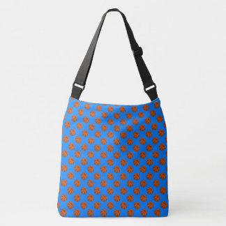 Sports Brown Basketball Balls on Azure Blue Crossbody Bag