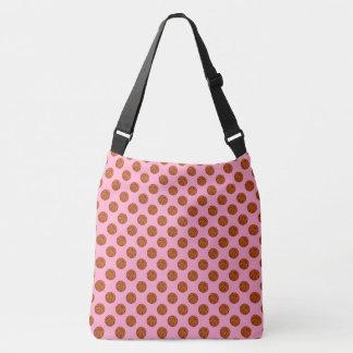 Sports Brown Basketball Balls on Carnation Pink Crossbody Bag