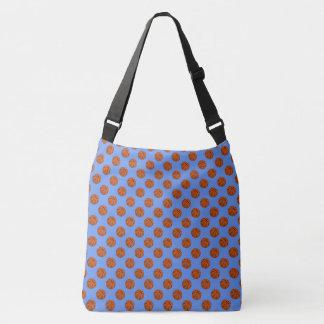 Sports Brown Basketball Balls on Cornflower Blue Crossbody Bag