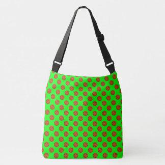 Sports Brown Basketball Balls on Lime Green Crossbody Bag