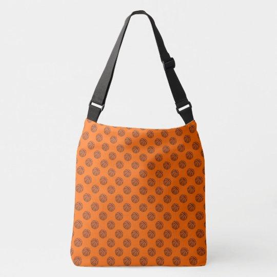 Sports Brown Basketball Balls on Orange Crossbody Bag
