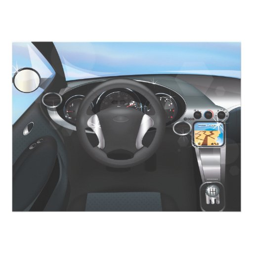 Sports Car Dashboard Custom Invitation