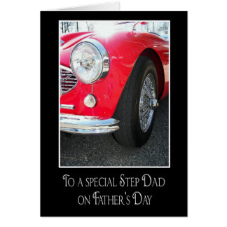 Sports Car for Step Dad Greeting Card