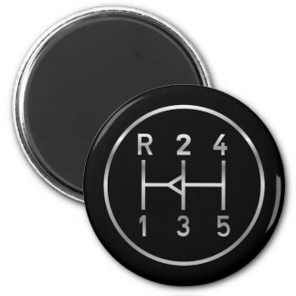 Sports car gear knob, transmission shift pattern 6 cm round magnet